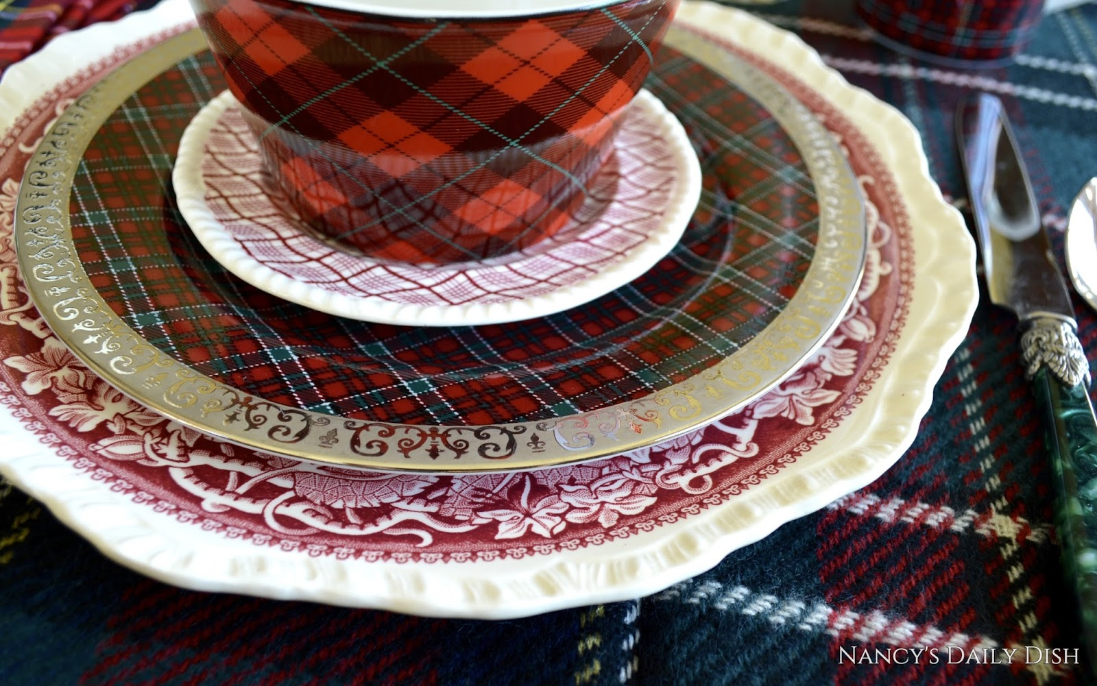 I layered lots of red transferware some in a wavy tartan with mixed tartan dinnerware. & Nancy\u0027s Daily Dish: Get your Plaid On! National Tartan Day is April 6th!