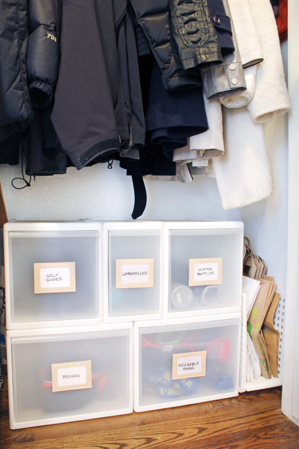 Use drawers to organize coat closets