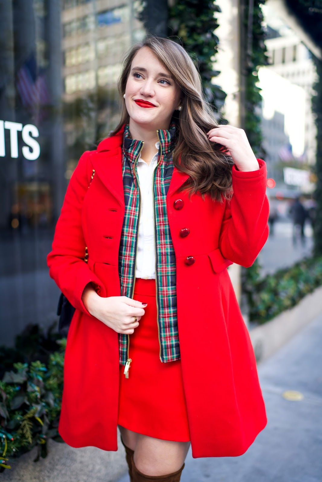 J. Crew Wool Mini Skirt, Helene Berman Wool Coat, red coat