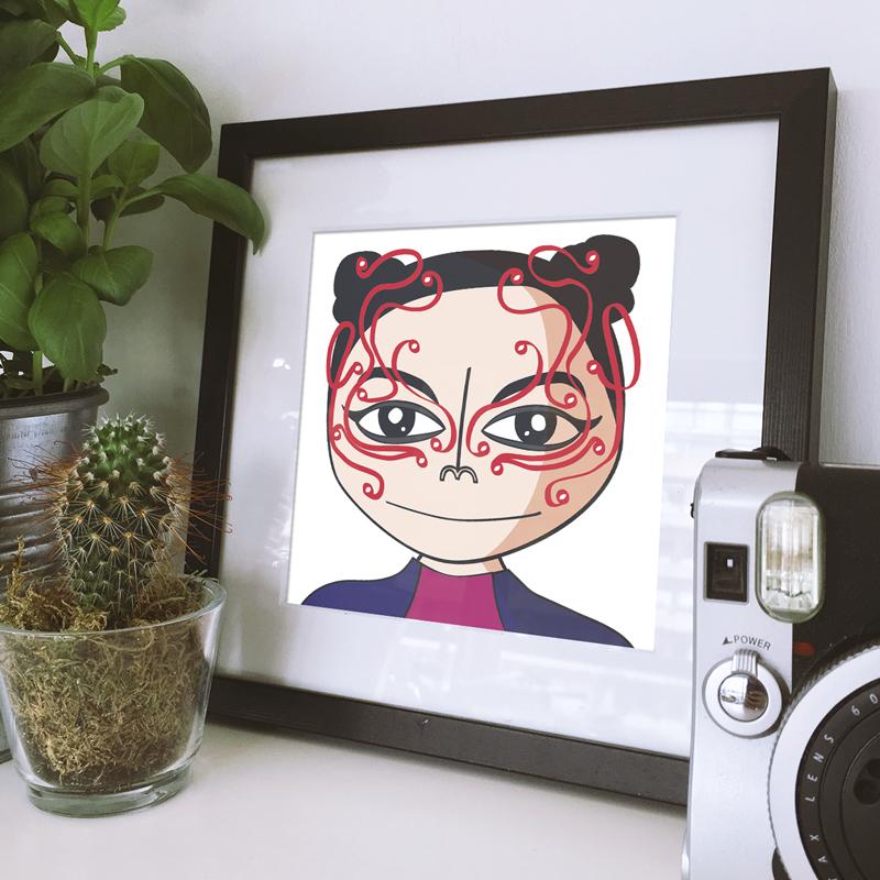 Caricatura a Björk