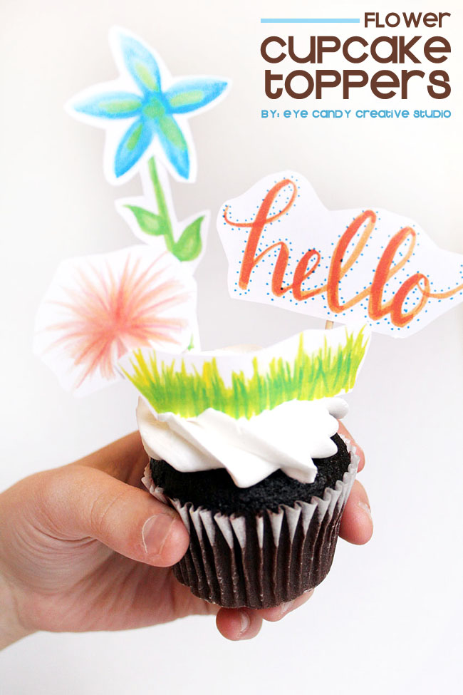 flower cupcake toppers, free spring toppers, spring party toppers, hand lettered