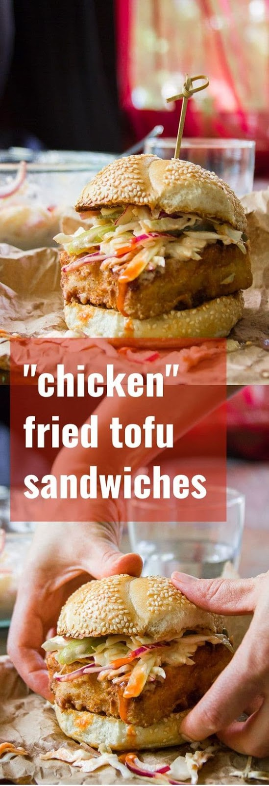 "Marinated tofu is battered and fried to a golden crisp to make these mouth-watering ""chicken"" style fried tofu sandwiches. Top with creamy dairy-free Buffalo slaw for a scrumptious vegan comfort food meal! #vegan #veganfood #veganrecipes #vegetarian #vegetarianrecipes #tofu #meatlessmonday"