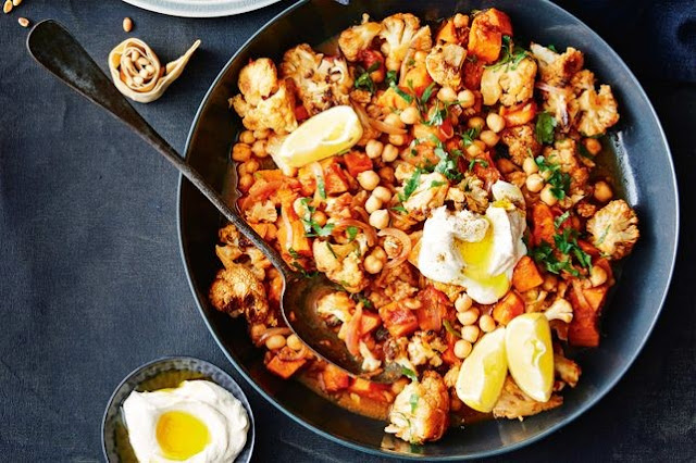 Lebanese roast cauliflower and sweet potato casserole