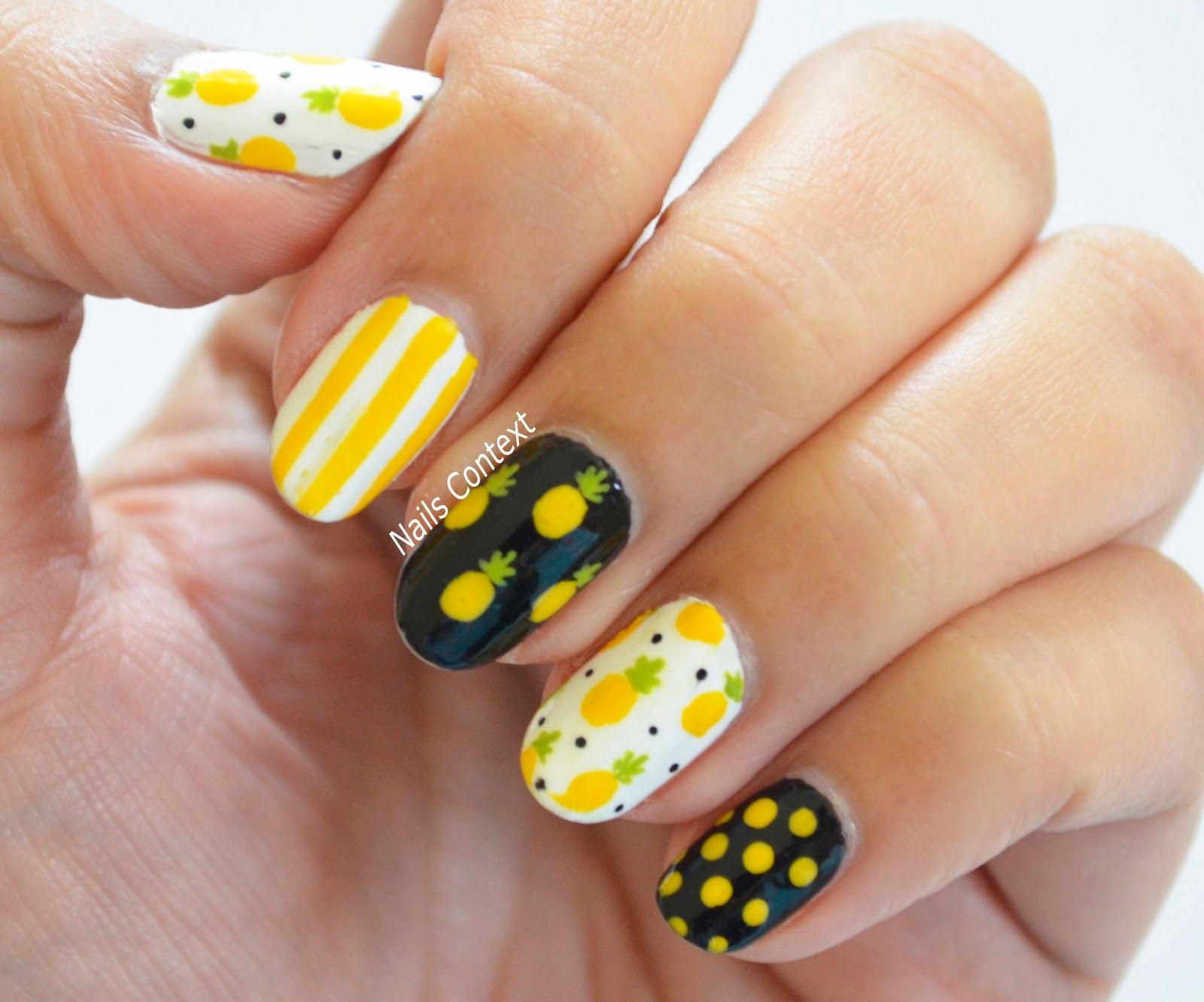 Nails context pineapple nails using fine nail art brushes and added dots using a dotting tool the polishes i used are all zoyas purity willa darcy and tilda prinsesfo Image collections