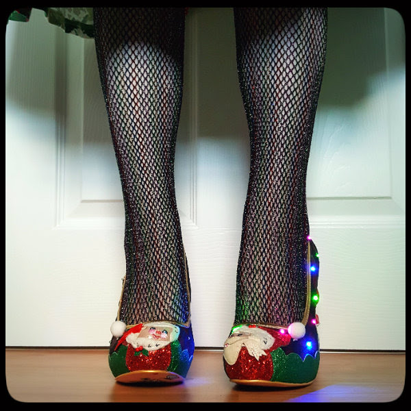 flashing light shoes with Santa and Mrs Clause applique toes