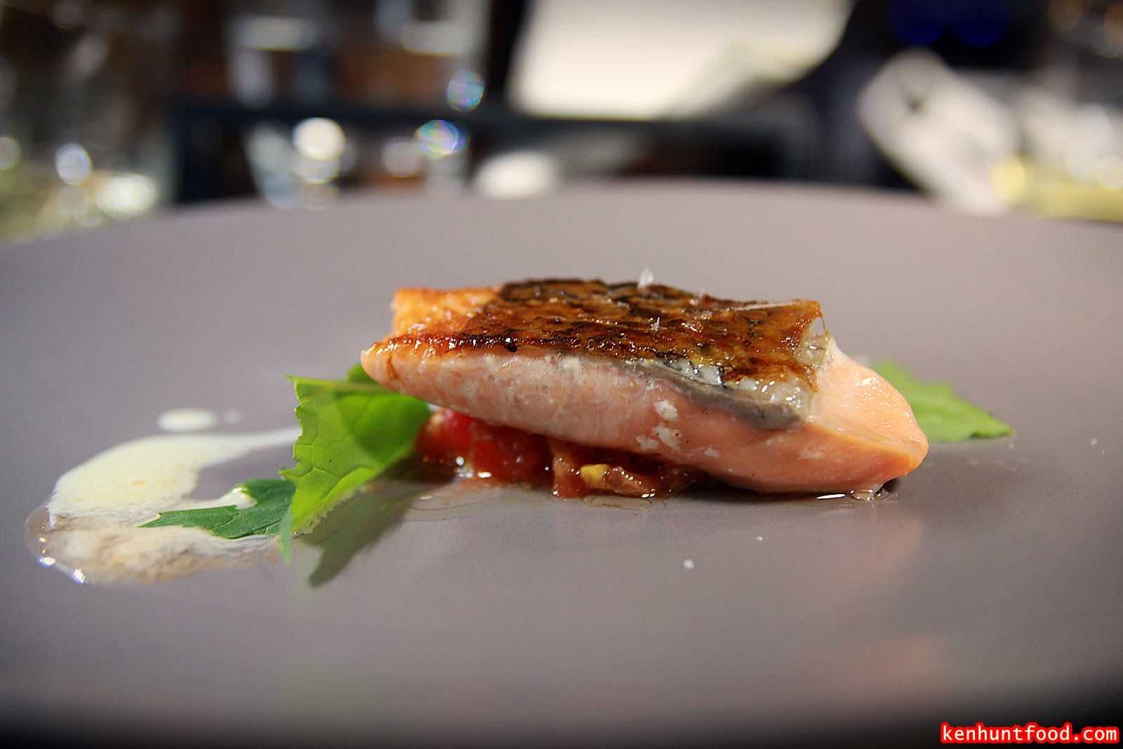 a maze omakase of molecular gastronomy nagore square sous vided salmon served chacee sauce mizuna leaves and dill milk