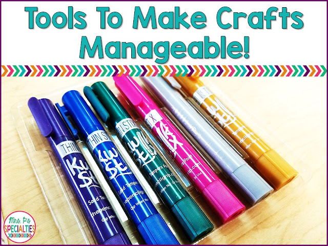 While arts and crafts offer a TON of opportunities to target skills and generalization, they can also be nerve wracking in a special education classroom. Right?! There are giant messes with paint and glitter and lost glue caps, markers running dry... the list is endless! Fear not! I have some cool products to share with you to make it all easier for you: