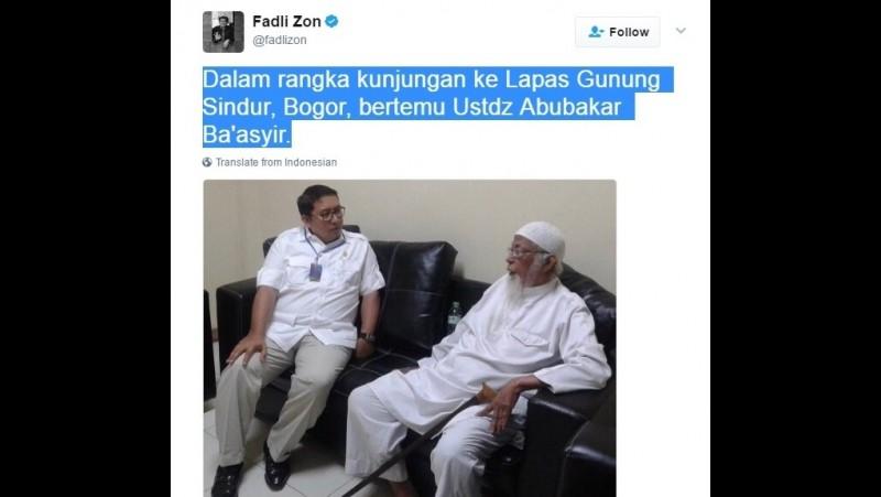 Fadli Zon bertemu Abu Bakar Ba'asyir