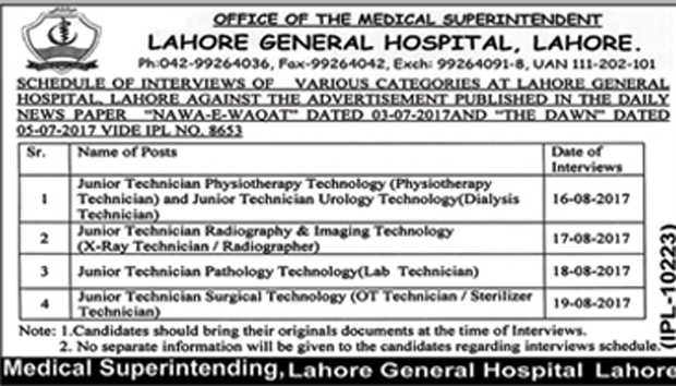 Jobs In Lahore General Hospital Lahore Aug 2017