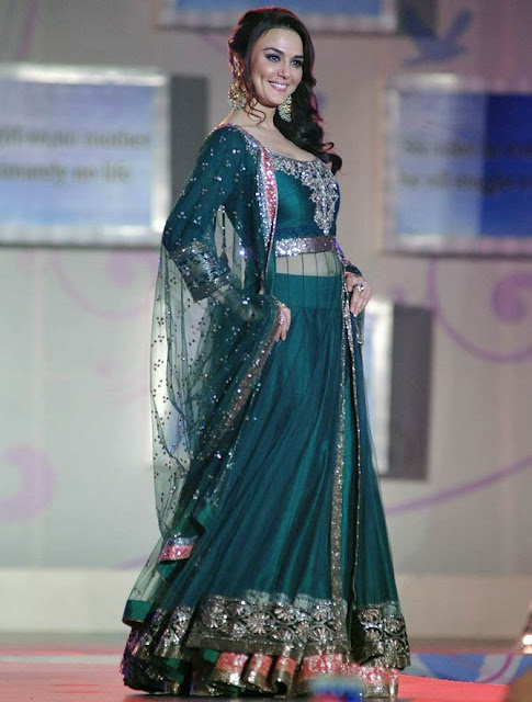Preety Zinta in Green Layered Floor Length Anarkali Suit