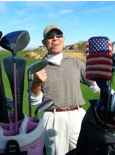 excited golfer, golf clubs, American Flag golf club cover, beautiful day