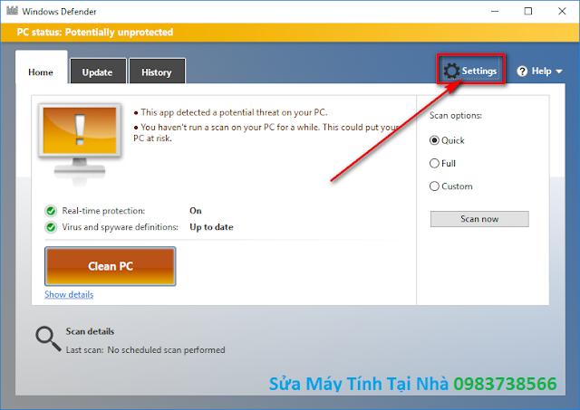 Chương trình Bật Windows Defender