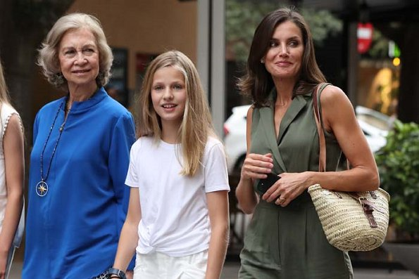 Queen Letizia, Crown Princess Leonor, Infanta Sofia, former Queen Sofia of Spain were seen in Palma de Mallorca