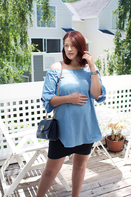 Chicwish, Chambray, Maternity ootd, pregnancy blog, Aritzia skirt, Chloe Milly bag, fbloggers