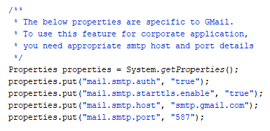 System properties for GMail