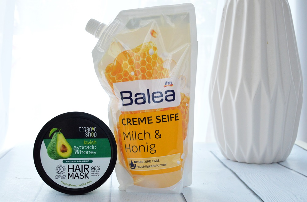 balea mydło w płynie, maska do włosów organic shop