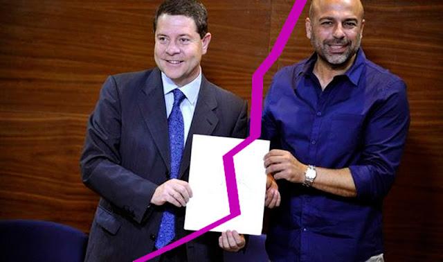 Emiliano Garcia Page y García Molinadurante el acuerdo, simulación gráfica