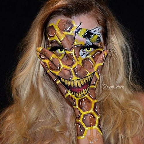 08-Honeycomb-and-Honey-Bee-Krysti-Ellen-Body-Painting-Face-plus-a-Hand-www-designstack-co