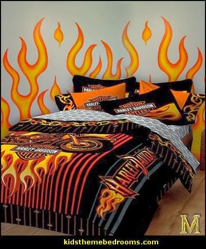 flames bedding - flames wall decals -  flames theme decorations - flames bedroom decorating - Harley Davidson decor - Harley Davidson bedding - Harley Davidson man cave decorating - Harley Davidson Room