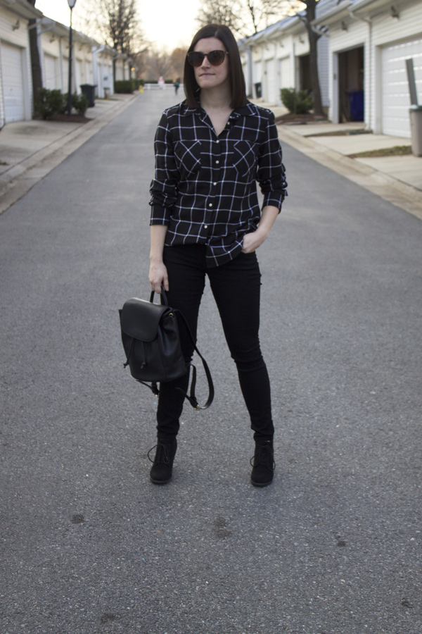 all black, blackout, Old Navy Rockstar Skinny jeans, black jeans, grid print top, Target shirt, backpack, Forever 21 backpack, booties, Old Navy booties, spring