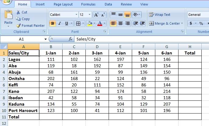 sum range in Microsoft Excel