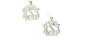 Monogrammned Filigree Earrings in Sterling Silver Small