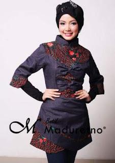 Desain Baju Batik Muslim Kombinasi Dengan Kain Polos Model Terbaik