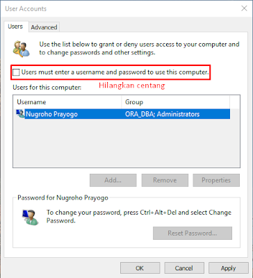 Cara Mematikan/Menonaktifkan Password Windows 10