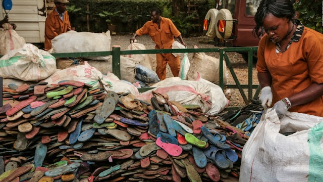 The waterways in Africa are greatly polluted because of flip flops