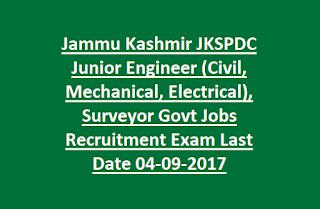 Jammu Kashmir JKSPDC Junior Engineer (Civil, Mechanical, Electrical), Surveyor Govt Jobs Recruitment Exam Last Date 04-09-2017