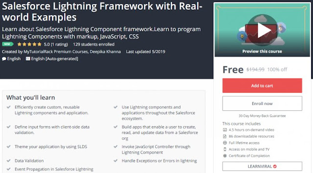 [100% Off] Salesforce Lightning Framework with Real-world Examples| Worth 194,99$