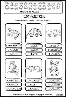 Caça-palavras com nomes de animais