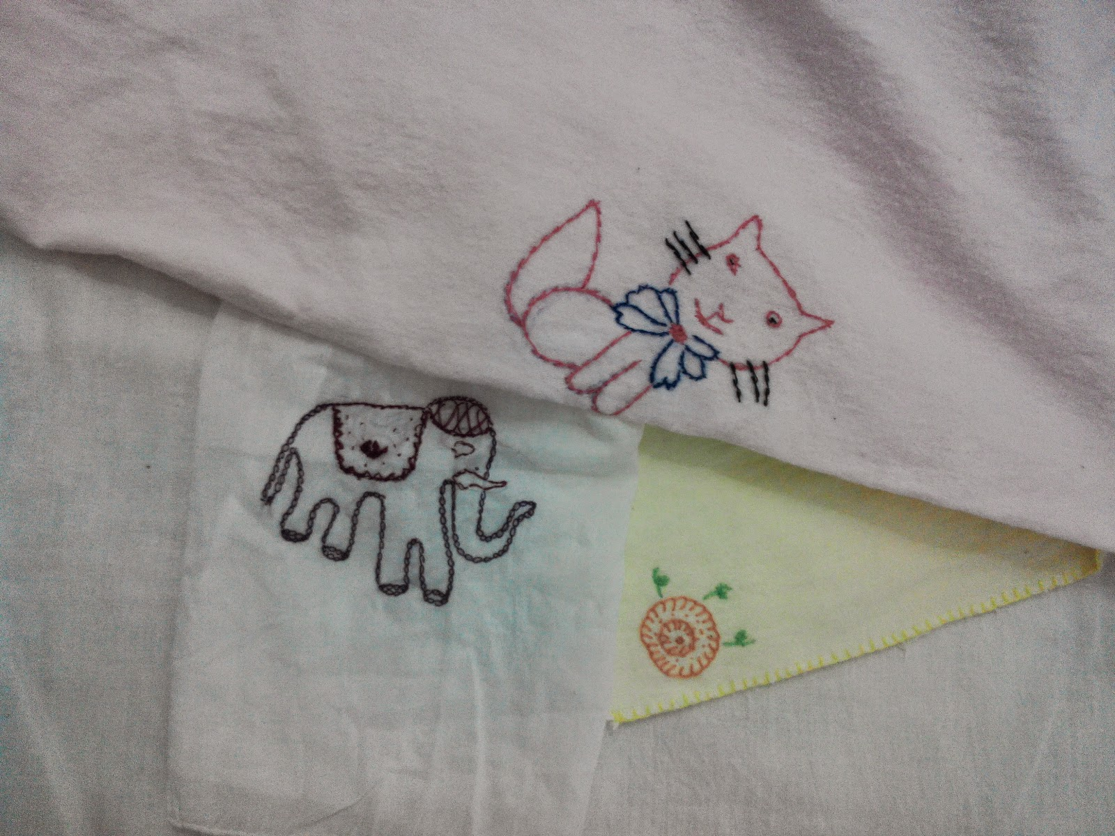 Hand Embroidery on baby flannels