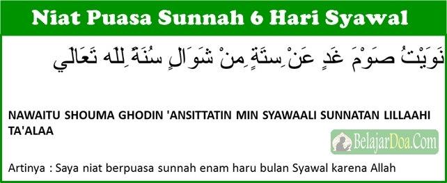 Doa Niat Puasa Sunnah 6 Hari Syawal Setelah Hari Raya Lebaran Idul Fitri