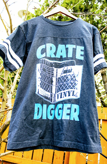 """Vinyl Addict Junkie Crate Digger DJ Humour T-Shirt on Zazzle - An outdoor picture of a DJ T-shirt that says """"Crate Digger."""""""