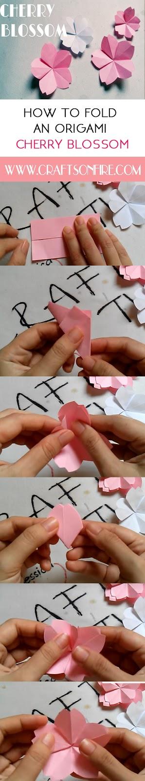 origami flower, easy origami flower, cherry blossom, easy cherry blossom, diy, diy crafts, diy projects