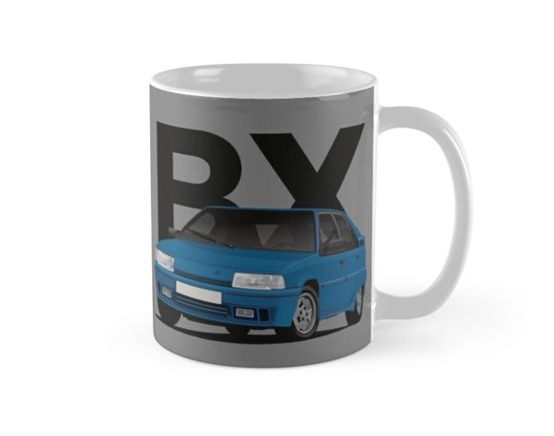 Blue Citroen BX GTi on coffee mug