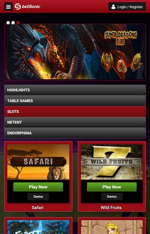 Betsonic Casino Games Screen