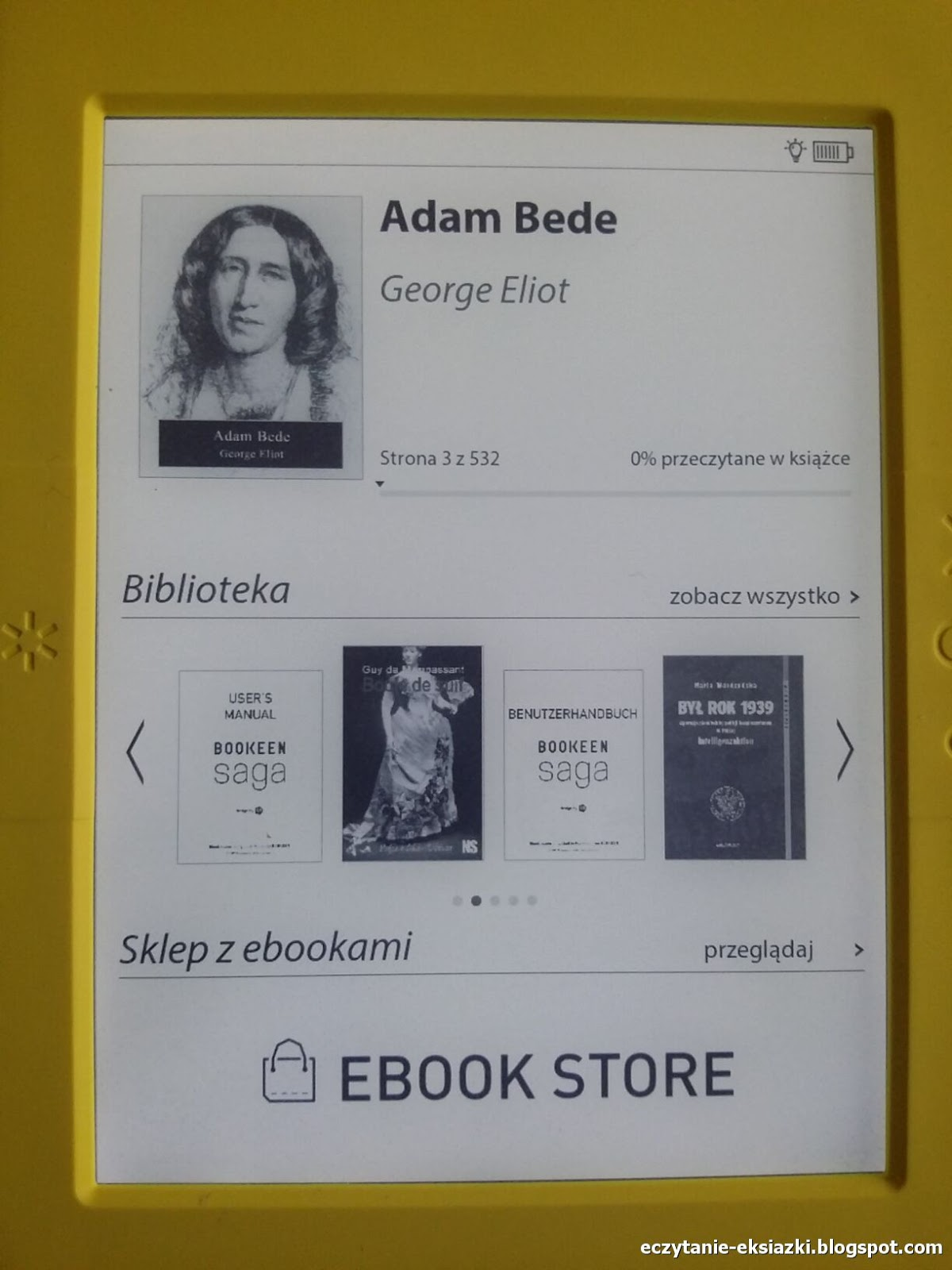 Ekran startowy czytnika Bookeen Saga