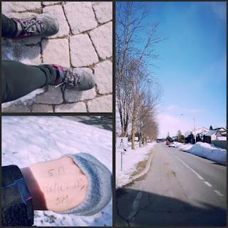 montage photos, chaussures de randonnées, main, rue de banlieue, l'hiver