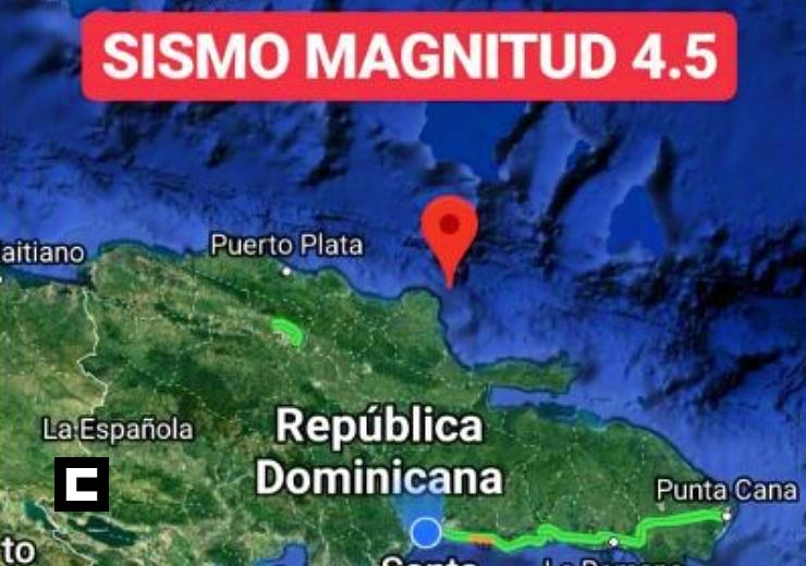 Se registra temblor de 4.5 grados en República Dominicana