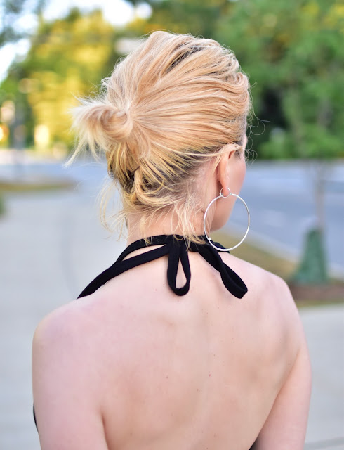 "halter-neck dress, ""blogger bun"""