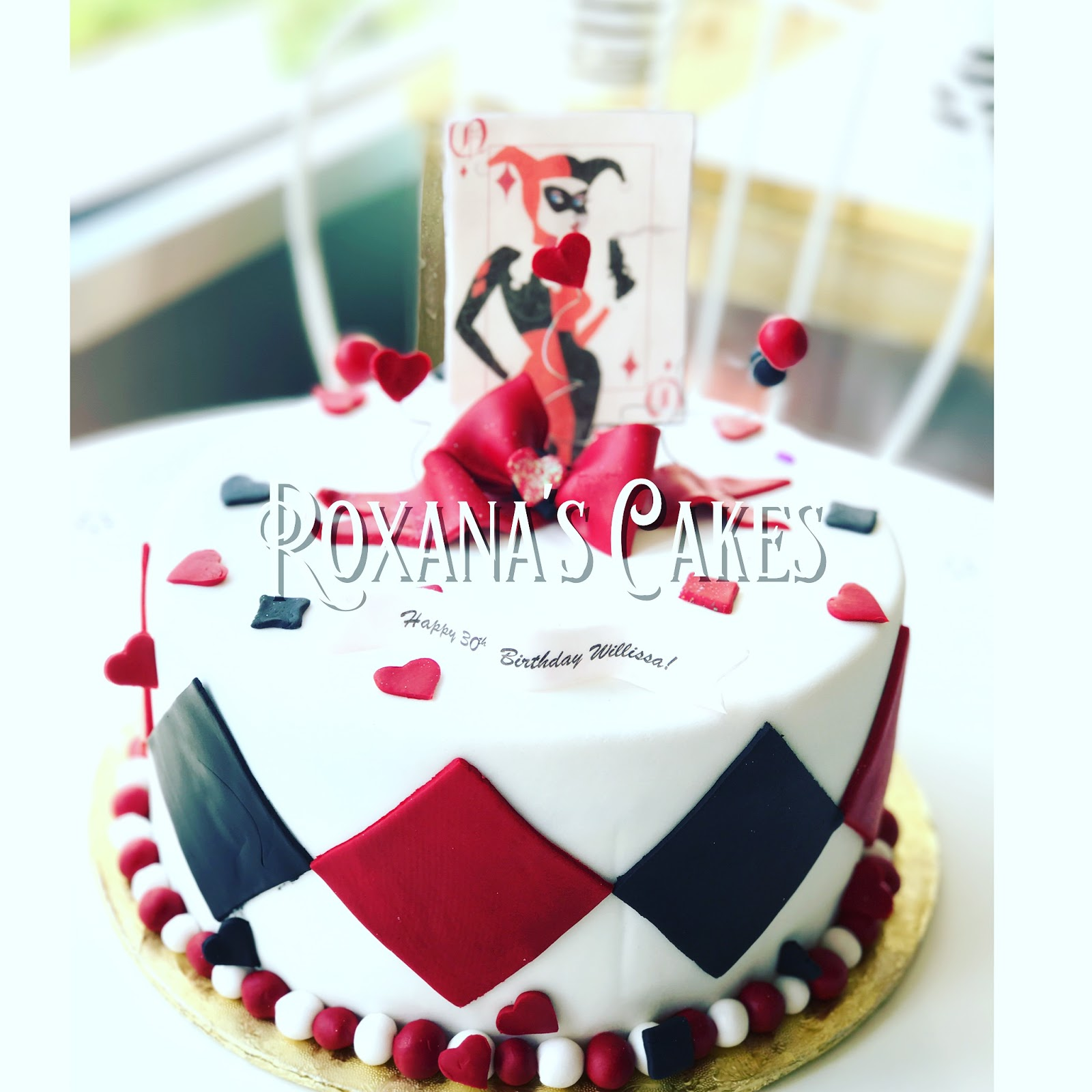 Baking With Roxanas Cakes 30th Birthday Cake Harley Quinn Themed