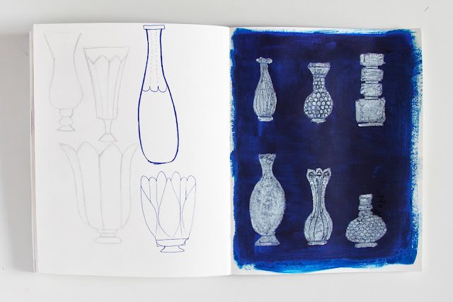 sketchbook, 2x2 sketchbook, collaboration, vases, milk glass, sketches, drawing