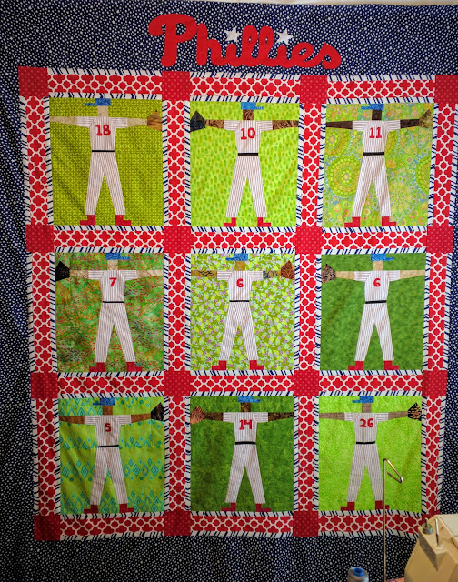 Phillies baseball player quilt in red, blue and white