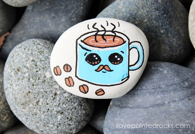 rock painting idea - a coffee cup with a mustache from draw so cute