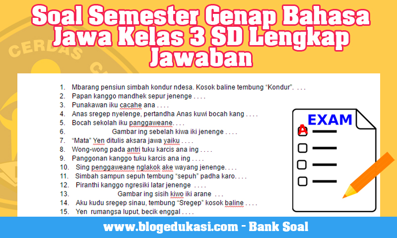 Soal Semester Genap Bahasa Jawa Kelas 3 SD Lengkap Jawaban
