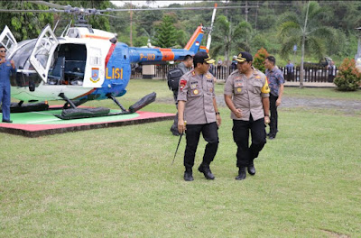 Kapolda Sulut Kunjungi Polres Minsel Dengan Helikopter