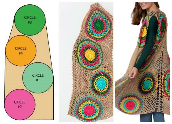 chaleco crochet, mujer moda, patrones ganchillo, círculos arco iris