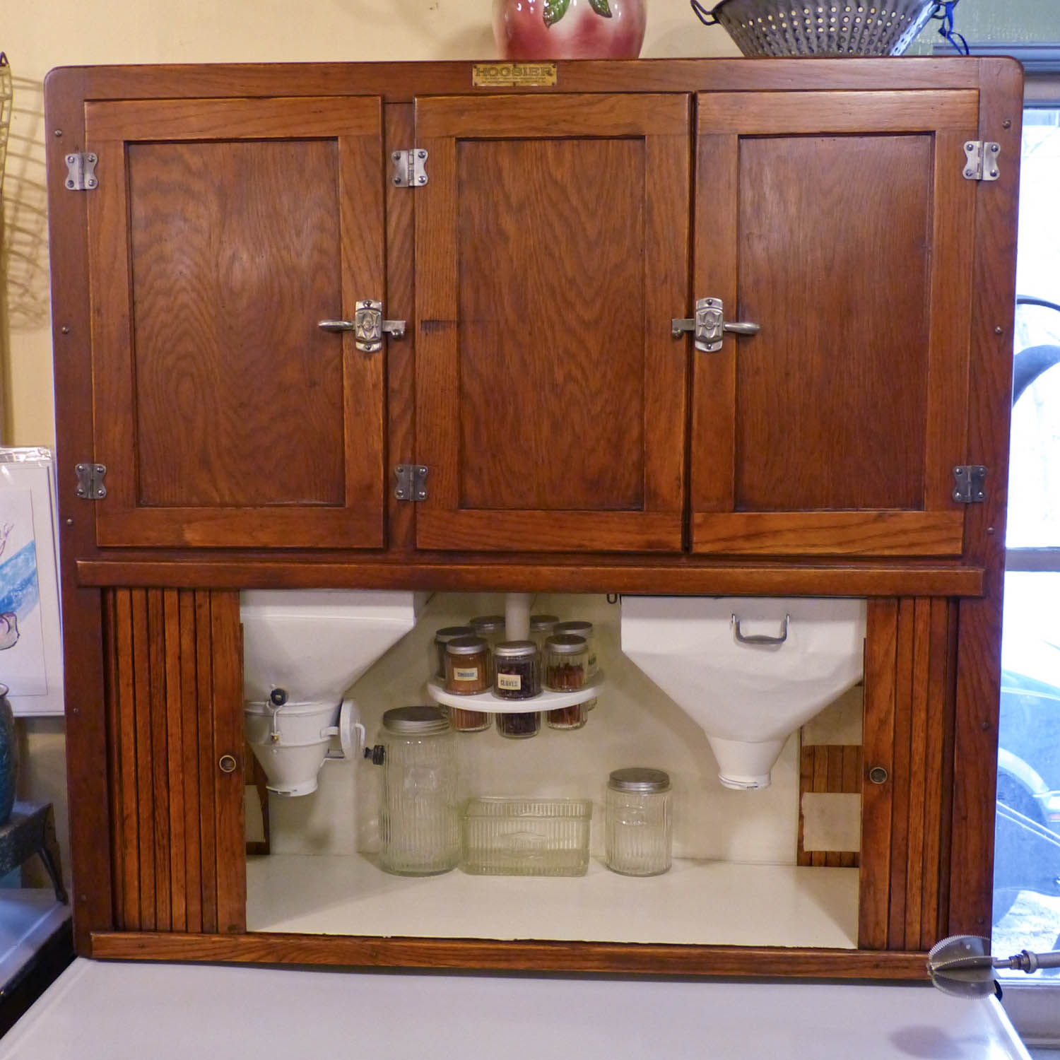 All The Hardware Is Original, It Has Two Lidded Drawers In The Base, A  Pull Out Sugar Bin And Top Load Flour Sifter, And Side Rolling Doors.